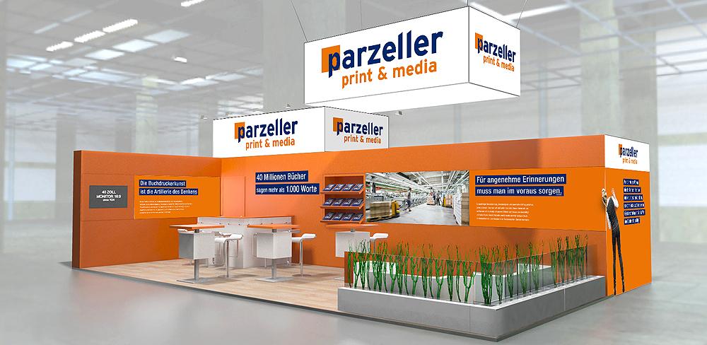 Parzeller präsentiert sich mit Unterstützung der Werbeagentur together concept auf der Frankfurter Buchmesse
