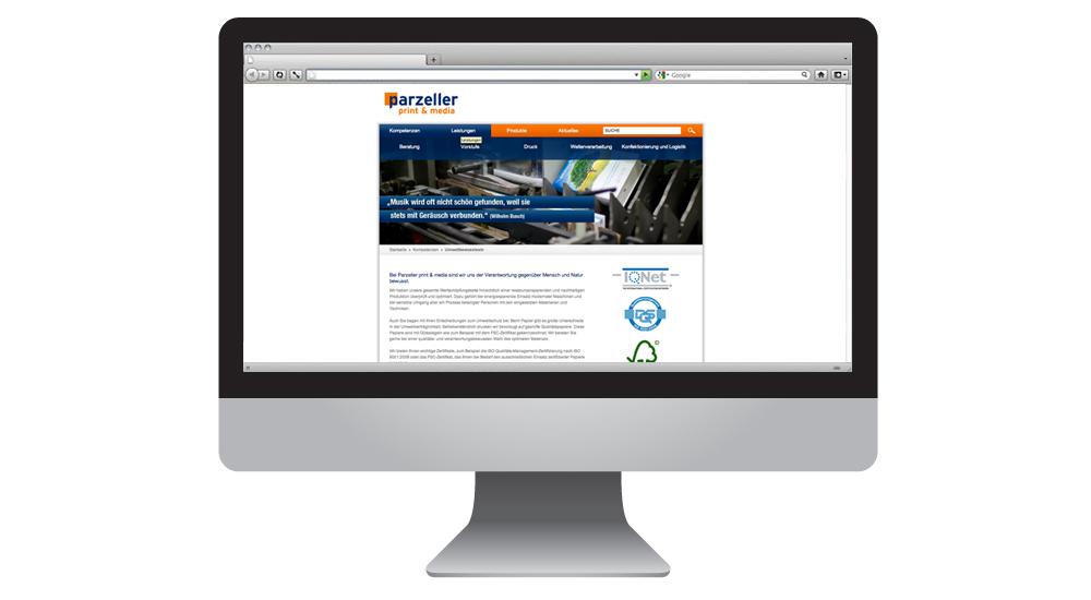 Parzeller Homepage im Content-Management-System Typo3 von together concept Werbeagentur GmbH