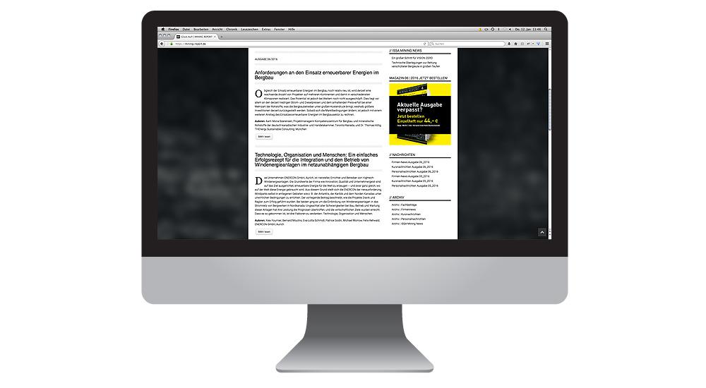 MIning Report Startseite mit Anlesern