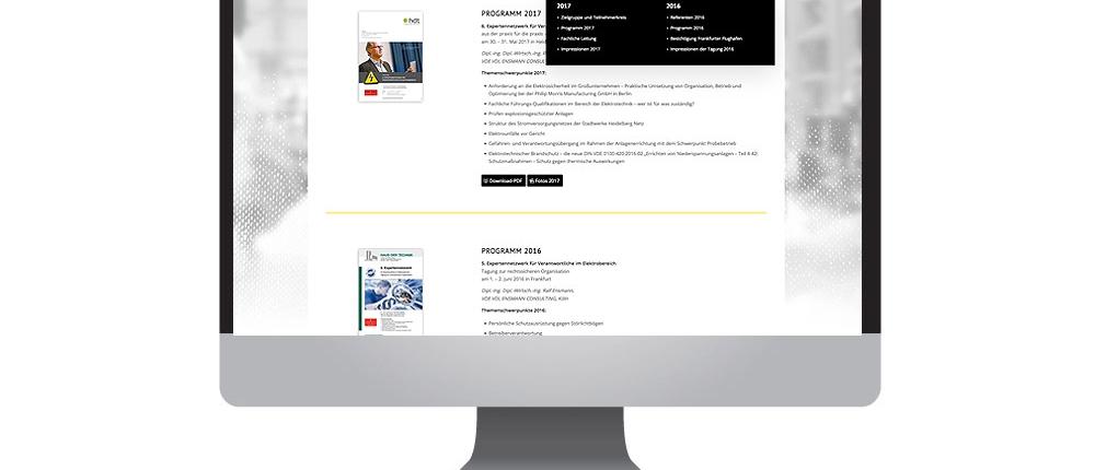 Homepage für die Tagung Elektroexperten – made by together concept