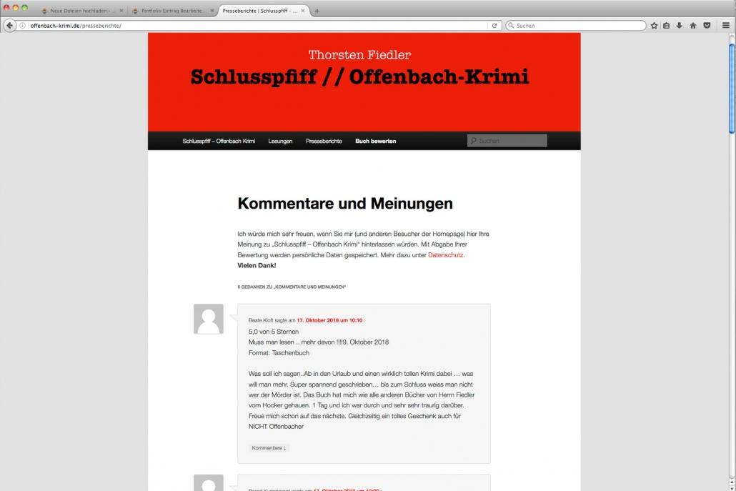 Schlusspfiff: Krimi gut promotet mit einer lebendigen Homepage